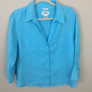 Talbots Button Front Aqua Blue Linen Blouse XL.